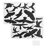 ewtshop® Extra große Vogelaufkleber, 18 Stück, für Fenster, Wintergärten, Glashäuser zum Vogelschutz, Warnvogel, Vogel-Silhouetten, Schutz vor Vogelschlag, Fensterschutz