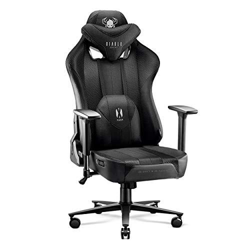 Diablo X-Player Gaming Stuhl Bürostuhl Schreibtischstuhl Stoff 3D Armlehnen Ergonomisches Design Nacken/- Lendenkissen (Schwarz-Schwarz, XL)