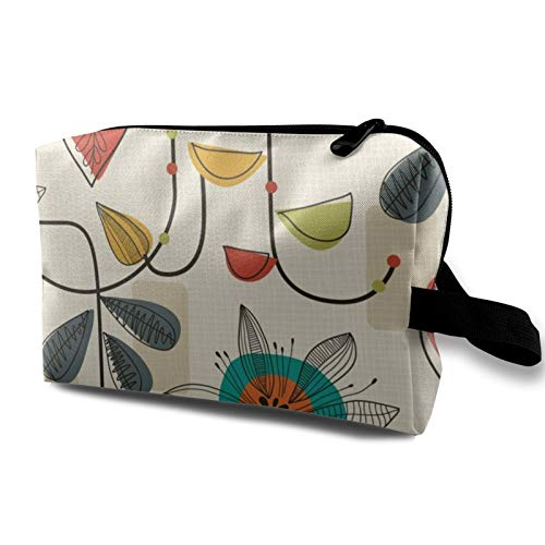 Travel Cosmetic Bag,1950'S Mid Century Modern Waterproof Makeup Bag Organizer Storage Bag with Zipper 4.9''X6.2''X10''