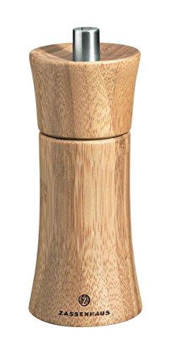 Zassenhaus Pfeffermühle Frankfurt 14 cm, aus Bambus mit stufenlos verstellbarem Hochleistungs-Keramikmahlwerk, befüllt