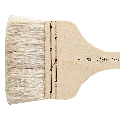 Silver Brush : Atelier Hake : Short Handle : Flat : Size 3in : 75mm Wide