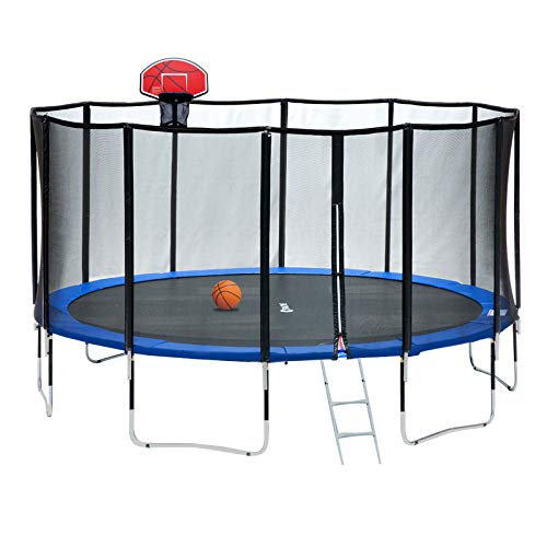 Exacme 15 Foot Outdoor Round Trampoline with Enclosure and Basketball Hoop, 400 LBS Weight Limit, Upgraded Carbon Fiber Surrounded Net Pole, L15+BH04OR