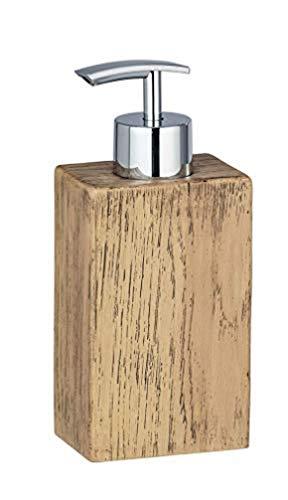 WENKO Seifenspender Marla - Flüssigseifen-Spender in eleganter Holz-Optik Fassungsvermögen: 0.25 l, Polyresin, 7 x 16.5 x 5 cm, Braun