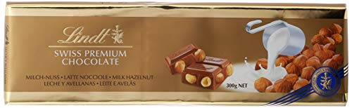 Lindt – Tableta de Chocolate con Leche y Avellanas, 300 g