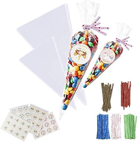 Boyigog 200 Pcs Bolsas Celofan Transparente, Bolsas para Chuches Comunion con Pegatinas y Bridas, para La Fiesta de Cumpleaños de Navidad como Bolsa de Regalo Bolsa de Dulces