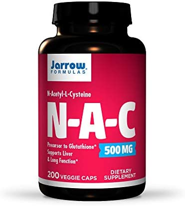 Jarrow Formulas N-A-C 500 mg - 200 Veggie Caps - Antioxidant Amino Acid - Liver & Lung Function Support - Precursor to Glutathione - Up to 200 Servings