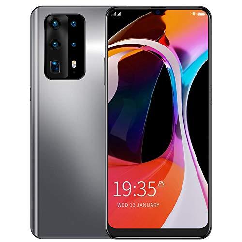 Smartphone, P60PRO Android 6.1 Smartphone, 6,3 Zoll Wassertropfenbildschirm Ultradünnes Smartphone, Dual Cards Dual Standby, 1 + 16 GB, 3200 mAh Akku, Fingerabdruckerkennung, Farbverlauf(Silber)