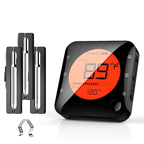 BFOUR Bluetooth Meat Thermometer Wireless Grill Thermometer with 3 Probes, Premium Digital Instant Read Meat Thermometer Food Thermometer Timer Alarm for Smoker, Grill, Oven, Kitchen, Cooking, BBQ