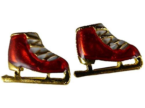 Ohrringe Ohrstecker Stecker Weihnachten Winter Schlittschuhe Eiskunstlauf rot 4648