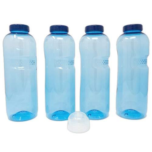 SAXONICA Trinkflasche aus Tritan 4 x 1 Liter Plus 1 x Sportdeckel Flip-Top ohne Weichmacher BPA frei (Bisphenol A frei)