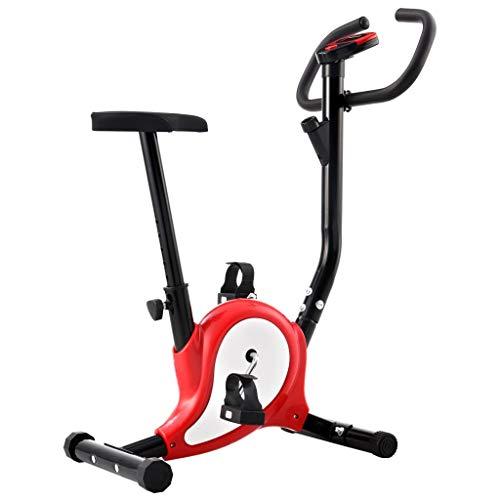 vidaXL Cyclette Ellittica con Cinghia di Resistenza Display LCD Regolabile Antiscivolo Allenamento Fitness Macchina Cardio Ciclocamera Rossa 100 kg