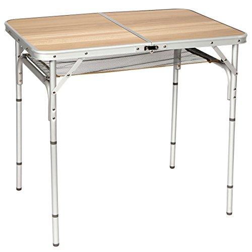Klapptisch in Holzoptik, Aluminium-Gestell, höhenverstellbar, 90x60cm - Alu Camping Tisch Koffertisch Beistell Tisch Garten