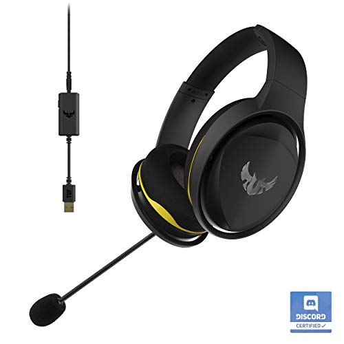 ASUS TUF H5 Gaming Headset - Discord Certified with Onboard 7.1 Virtual Surround Sound | Dual Microphones in-line & Detachable Gaming Headphone mic | Compatible with PS4, Nintendo, Xbox and More