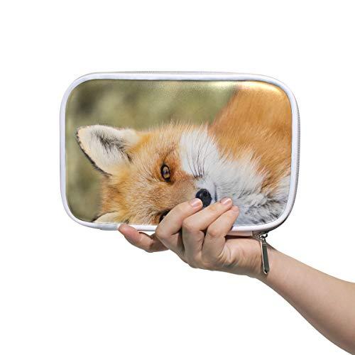 Sac à cosmétiques pour garçons Red Fox Vulpes Vulpes Assis Attention Gym Trousse de toilette pour femmes Pouch Pen Case Multifunctional Travel Pencil Case For Men Women