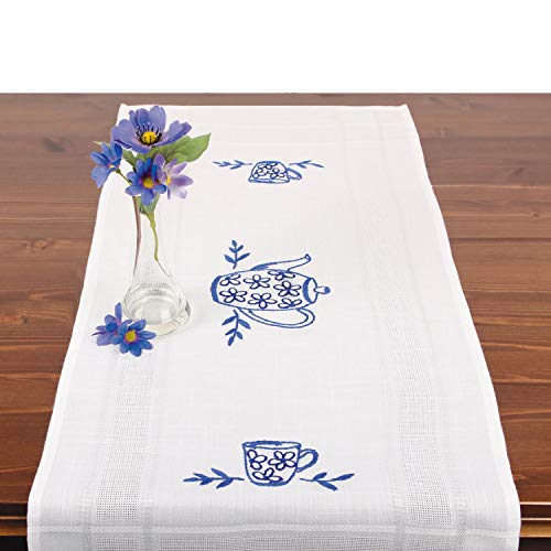 Stickpackung KAFFEEKRÄNZCHEN, Tischläufer Set vorgezeichnet zum Sticken, Stickset mit Plattstich und Stielstich zum Selbersticken