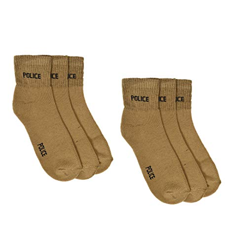 Crux&hunter Men's Cotton Ankle Length Police Socks (Khaki, Free Size) – Pack of 6 Pair
