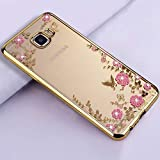 YHWW Handyhülle DiamantGold Soft TPU Original zurück Telefon Fällen, Coque, Abdeckung, Fall für Samsung Galaxy J3 J5 J7 2016 Silikon, Gold, J5 2016 J510