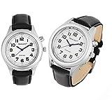 Lederarmband Damen Sprechende Armbanduhr Silber Uhr Senioren Blindenuhr Sprachfunktion