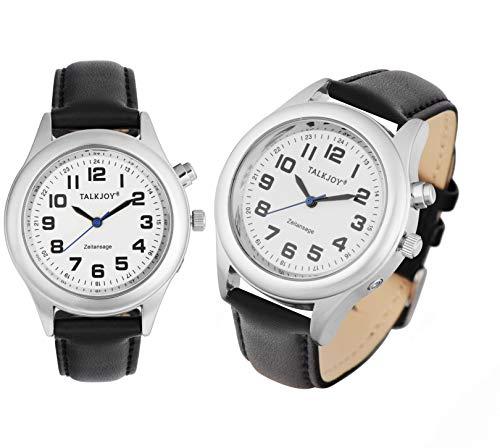 Engels sprekende polshorloge horloge senioren blindklok tijdweergave 40mm-Herren Zilveren leren armband.