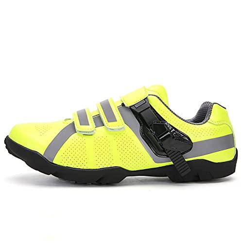RTY Zapatos de Ciclismo para Hombre MTB Respirable Impermeable,Verde,44