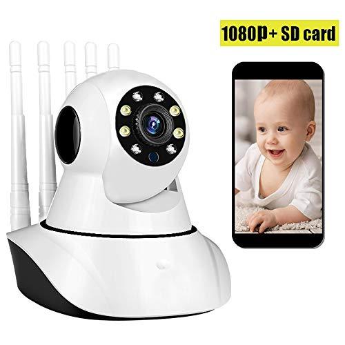 FTSUI IP-camera, wifi, 5 antenne, webcam met nachtzicht, bewegingsdetectie, 2-weg audio-veiligheidsmonitor voor thuis voor babys/oudere huisdieren, 1080P, 16SD-kaart