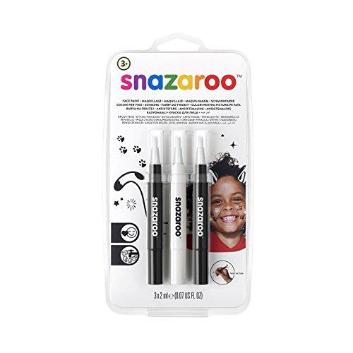 Snazaroo 1180156 Kinderschminke, Schminkstift mit Pinselspitze, 3 Farben Set Monochrom, schwarz/weiß