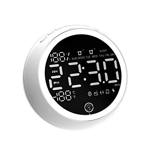 PAWONIT Rechargeable Dual Alarm Clock Radio,White Noise Machine with 20 Nature Sounds,Clock Noise Machine with Sleep Timer,FM Nightlight Radio White Noise Temperature Time Clock for Home