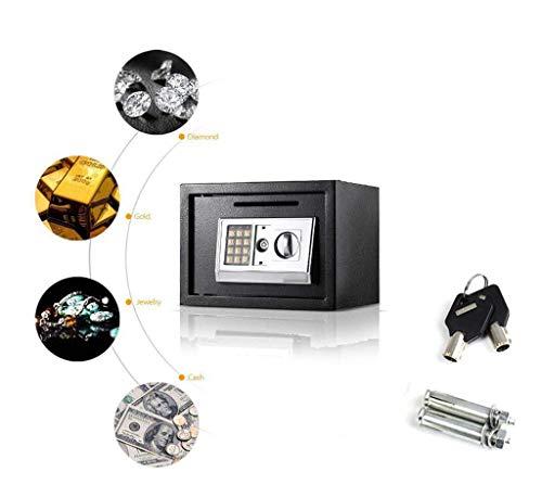 YLLN 8.5L Caja Fuerte de Seguridad electrónica Digital para la Oficina en el hogar, se Puede Montar en la Pared con 2 Pernos para Anclaje, 20x31x20 cm (Negro)