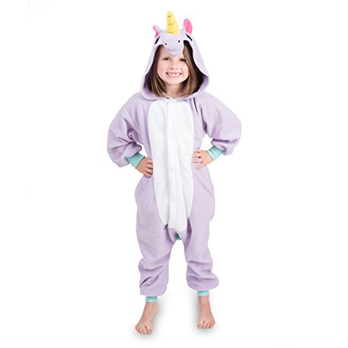 Emolly Fashion Kids Animal Unicorn Pajama Onesie - Soft and Comfortable with Pockets (8, Purp) Purple