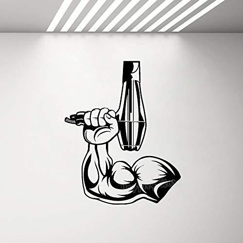 Etiqueta engomada de la mano del hombre musculoso vinilo extraíble etiqueta de la pared barbero secador de pelo adhesivo de fondo Mural para peluquería A8 57X70CM