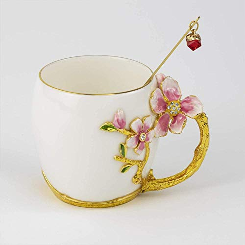 HUIQ Taza de té con Flores Taza de café Taza de cerámica Artesanal con Esmalte Taza Taza de Esmalte con Cuchara Taza de Viaje con Hermoso Mango de Flor Peach Blossom Red 400ML-Flor Rosa 320ml