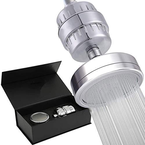 PTMD - Set di filtri e soffione per doccia, 15 stadi di purificatore d'acqua e vitamina C+E per acqua dura,...