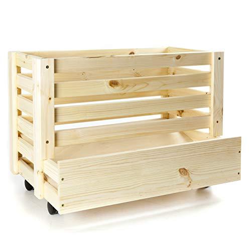 Holzfee Kartoffelkiste mit Rollen bis 40 kg Kartoffelstiege Holzstiege