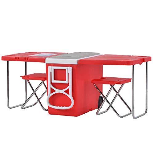 WEIZI Mesa de Picnic Plegable Establece Mesa de Camping portátil multifunción con 2 taburetes Ruedas y una Caja refrigeradora de 28 litros (Rojo)