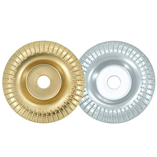 Disco Abrasivo para Amoladora Angulares de Carburo de Tungsteno 100mm con Orificios 16mm, Muela Abrasiva Disco de Pulido Herramienta de Corte de Carpintería para Madera por Poweka (Oro con Plata)