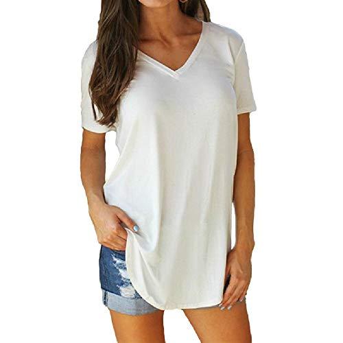 NOBRAND Europa y los Estados Unidos, camiseta de manga corta con cuello en V, para mujer Blanco blanco M