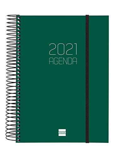Finocam - Agenda 2021 1 Día página Espiral Opaque Verde Euskera