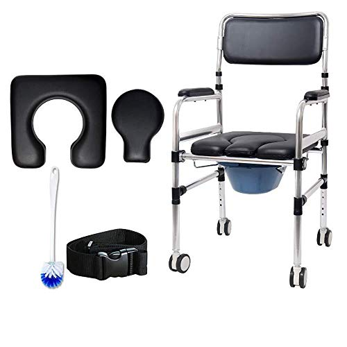 Bathroom Wheelchairs RRH Bedside Commodes Elderly Commode Chair for Toilet with Wheels,Rolling Shower Chair with Padded Toilet Seat and Belt for Handicap and Seniors