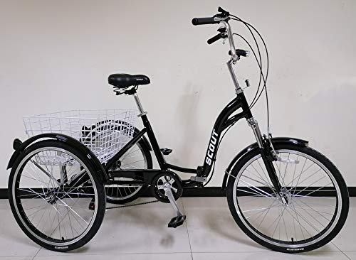 SCOUT Quality adult folding tricycle, trike, 6-speed shimano gears, folding alloy frame (Black)