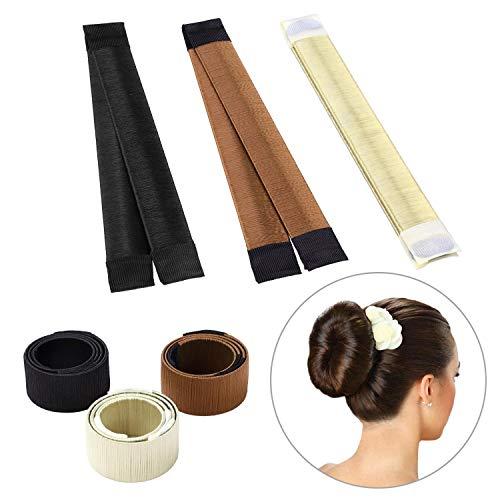 Upsky 3 Pièces Cheveux Maker, Chignon Maker Filles Femmes Hair Bun Maker Hair Donut, Accessoires à Chignon Mariage Beige, Brun, Marron