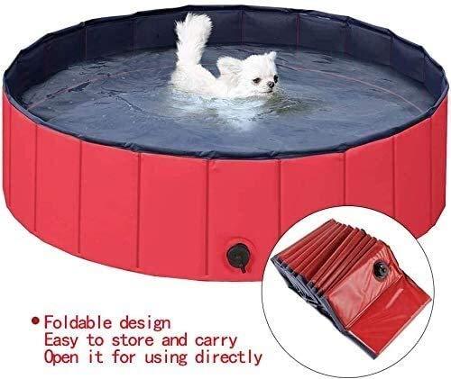 Lanxing Faltbare Hartplastik Planschbecken Schwimmbecken for den Garten Haustier Hund Schwimmbad aufblasbare Outdoor-Sommer Badewanne for Teddy Golden Retriever großer Hund Katze