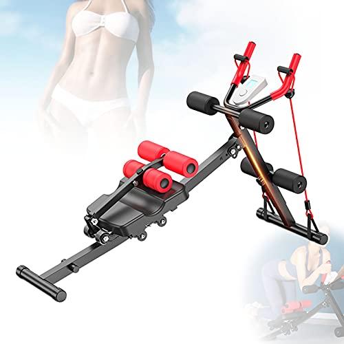 Multifuncional Coaster Máquina Abdominal, Brazos Abdominal & Sit-Up Banco con Bandas De Resistencia, Pantalla LCD para Entrenamiento Abdominales, Bíceps, Cuádriceps