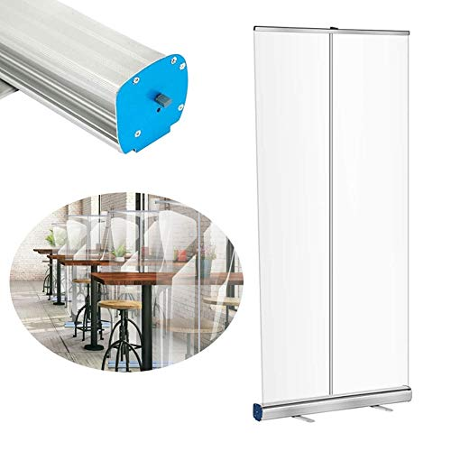 XLAQ Floor Standing Full Tarp Sneeze Guard with Roll Up Stand Free Standing Isolation Barrier Clear Film Protective Shield Transparent Partition