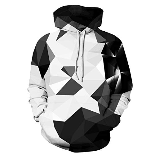 Unisex Jungen 3D Druck Kapuzenpullover Tops Fashion Hoodie Pullover Hooded Sweatshirt (Small/Medium, AGeometrie grau)