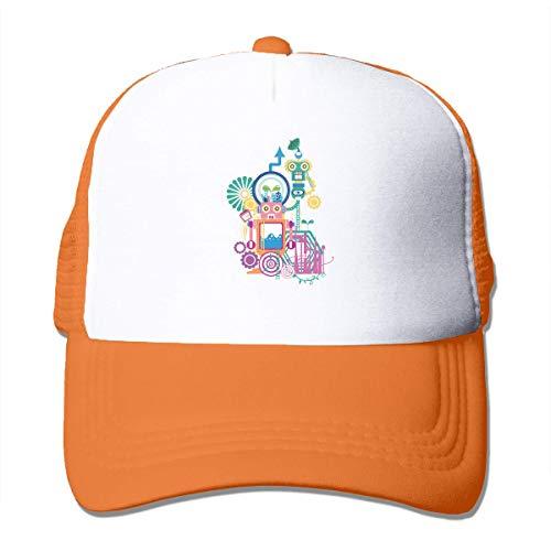 LLOOP Gorras de béisbol de Malla para Deportes de Dibujos Animados Robots Ajustables para Correr al Aire Libre, Mujer, Naranja, Talla única