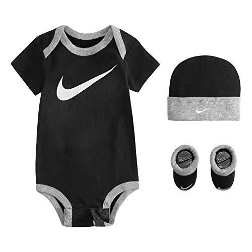 NIKE Children's Apparel Unisex Baby Hat, Bodysuit and Bootie Three Piece Set Socken, Schwarze Sportswear, 6-12 Monate