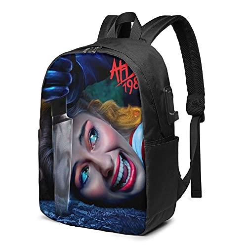 American Horror Story 1984 Mochila unisex de negocios de 17 pulgadas con puerto de carga USB, mochila casual de senderismo