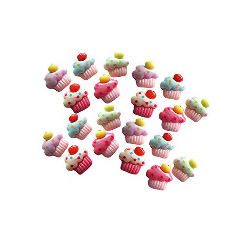 Milopon Lot de 20 décorations en résine à dos plat pour loisirs créatifs, création de cartes, décoration de cupcakes, couleur aléatoire
