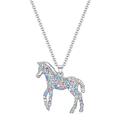 Girls Horse Necklace Gifts,Little Rainbow Horse Jewelry for Women Boys,Initial Letter Necklaces Pendant for Teen Girls Horse Lovers (Little Horse Mix for Girls)
