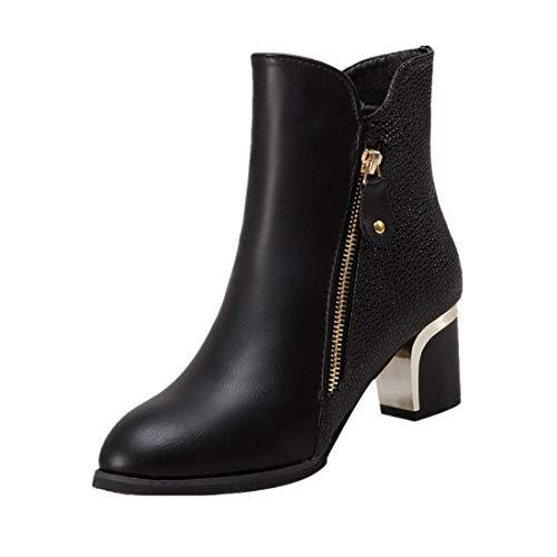 BHYDRY Damem Mode BloßE Stiefel Klassisch ReißVerschluss Dicke Absatzpumpen England Martin Boots...